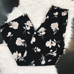 Blue Pepper Black Floral wide leg pants